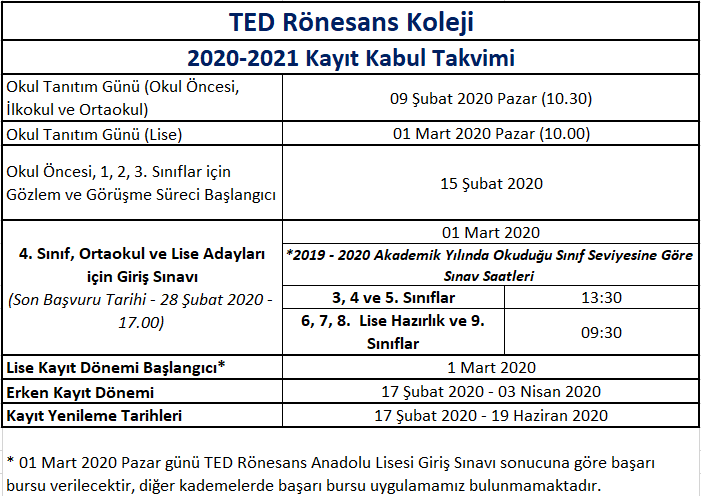 2020-2021 Ana Kayıt Takvimi